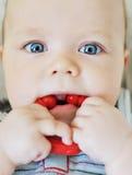 Bébé mordant un jouet photographie stock libre de droits