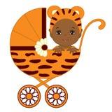 Bébé mignon d'Afro-américain de vecteur en Tiger Costume Sitting dans la poussette Photo libre de droits
