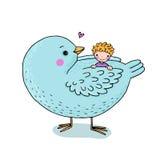 Bébé mignon de bande dessinée et grand oiseau illustration stock