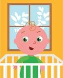 Bébé mignon de vecteur dans le lit photographie stock libre de droits