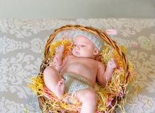 Bébé nouveau-né avec le chapeau d'oreille de lapin s'étendant dans le panier de Pâques Photographie stock libre de droits