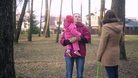 Bébé nouveau-né et famille marchant en parc banque de vidéos