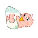 Bébé nouveau-né mignon qui boit du lait Photographie stock