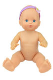 Bébé nu - pose de séance de poupée, fond d'isolat photographie stock
