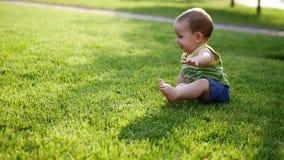 Bébé rampant lentement sur le pré de Le petit monde de bébé Mouvement lent banque de vidéos
