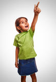 Bébé recherchant montrant l'émotion de pouce Photographie stock libre de droits