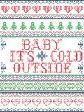 Bébé sans couture de modèle de Noël son style froid d'extérieur, inspiré par Noël norvégien, hiver de fête dans le point croisé illustration de vecteur