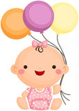 Bébé Sit Holding Balloon illustration libre de droits