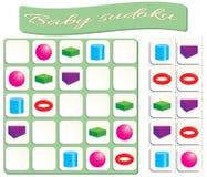 Bébé Sudoku avec des formes géométriques colorées illustration stock