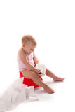 Bébé sur le pot, fond blanc Photographie stock libre de droits