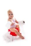 Bébé sur le pot, fond blanc Photos libres de droits
