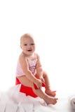 Bébé sur le pot, fond blanc Photographie stock