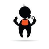 Bébé tenant une silhouette de vecteur de bouteille Photo libre de droits