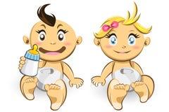 Bébés et filles Photos stock