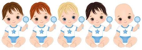 Bébés garçon mignons de vecteur avec des hochets Douche de bébé garçon de vecteur illustration libre de droits
