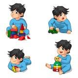 Bébés jouant le personnage de dessin animé de jouets Images stock