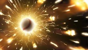 béisbol Bola del béisbol Fondo del béisbol con las chispas ardientes en la acción imagen de archivo libre de regalías
