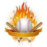 béisbol con las llamas stock de ilustración