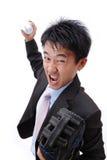 Béisbol del cabeceo del hombre de negocios Imagen de archivo libre de regalías