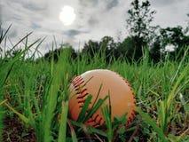 Béisbol en la yarda fotografía de archivo