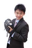 Béisbol joven del cabeceo del hombre de negocios Fotos de archivo libres de regalías