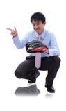 Béisbol joven del retén del hombre de negocios Imágenes de archivo libres de regalías
