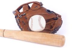 Béisbol, mitón y palo Imágenes de archivo libres de regalías