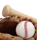Béisbol, palo, mitón Fotos de archivo libres de regalías