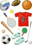 Béisbol, ping-pong, tenis, baloncesto, golf Foto de archivo libre de regalías