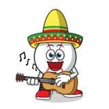 Béisbol que toca la guitarra y que lleva un ejemplo de la historieta del vector de la mascota del sombrero ilustración del vector