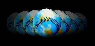 Béisbol - tema central del mundo Imagen de archivo libre de regalías