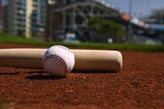 Béisbol y palo Fotografía de archivo