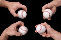 Béisboles en manos Foto de archivo