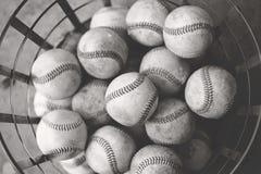 Béisboles en una cesta Foto de archivo libre de regalías