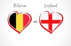 Bélgica contra las banderas de Inglaterra, fútbol del equipo nacional en el fondo blanco Imagen de archivo libre de regalías