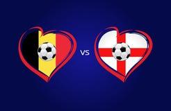 Bélgica contra las banderas de Inglaterra, fútbol del equipo nacional en fondo de los azules marinos Fotografía de archivo