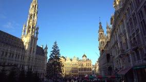 bélgica Cuadrado Grand Place de la Navidad del lapso de tiempo en Bruselas almacen de video