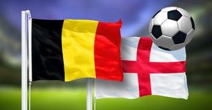 Bélgica - Inglaterra, FINAL del mundial de la FIFA, Rusia 2018, banderas nacionales Foto de archivo libre de regalías