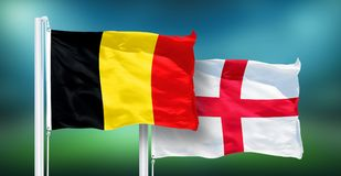 Bélgica - Inglaterra, FINAL do campeonato do mundo de FIFA, Rússia 2018, bandeiras nacionais Imagem de Stock Royalty Free