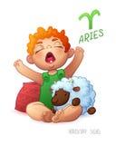 Bélier de signe de zodiaque Bélier de signe d'horoscope Babyboy roux a plaisir à jouer des moutons Réveillez la chéri Photos stock