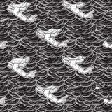 Bénédiction de la main apparaissant des nuages Configuration sans joint illustration libre de droits