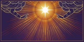 Bénédiction divine Étoile avec le rayonnement de faisceaux lumineux derrière et bénir des mains atteignant des nuages illustration libre de droits