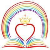 Bénédictions de Dieu, un coeur avec une couronne au-dessus d'une bible ouverte et illustration stock
