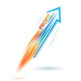 Bénéfice-concept-de-affaire-succès-flèche-fusée-blanc-fond Images libres de droits