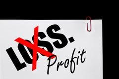 Bénéfice ou perte - plan d'action ? Images stock