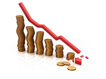 Bénéfices en baisse image stock