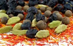 Bérberis, cardamomo, açafrão, pimenta da Jamaica preta Fotografia de Stock Royalty Free