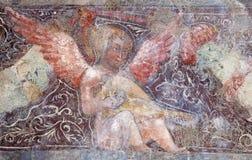 Bérgamo - detalle del fresco del ángel del bianco del pozzo del al de Micaela de la iglesia Imagen de archivo