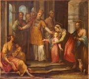 Bérgamo - el dolor de la presentación en el templo en el delle Grazie de Santa Maria Immacolata de la iglesia de Francesco Bergam Imagen de archivo
