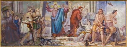 Bérgamo - el fresco de Jesus Cleanses la escena del templo en el delle Grazie de Santa Maria Immacolata de la iglesia de Giambatt Imagenes de archivo